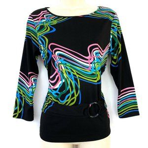NY Collection Top M Black Rainbow Ribbon Pattern